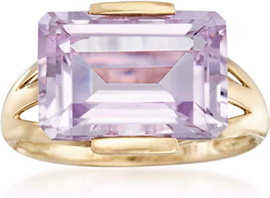 PRETTY 14K Yellow Gold Amethyst and Diamond Heart Ring Size 7.25