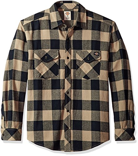 (Dickies Men's Relaxed Fit Long Sleeve Brawny Plaid Shirt, Desert Sand/Dark Navy, Small)