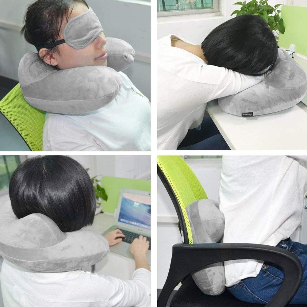 Hemore Almohada de viaje hinchable para el cuello, cojín suave con funda de terciopelo para dormir y tapones para los oídos, cuidado de la salud del bebé