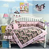 SOHO Pink Camo Baby Crib Nursery Bedding Set 13 pcs included Diaper Bag with Changing Pad & Bottle Case by SoHo Designs
