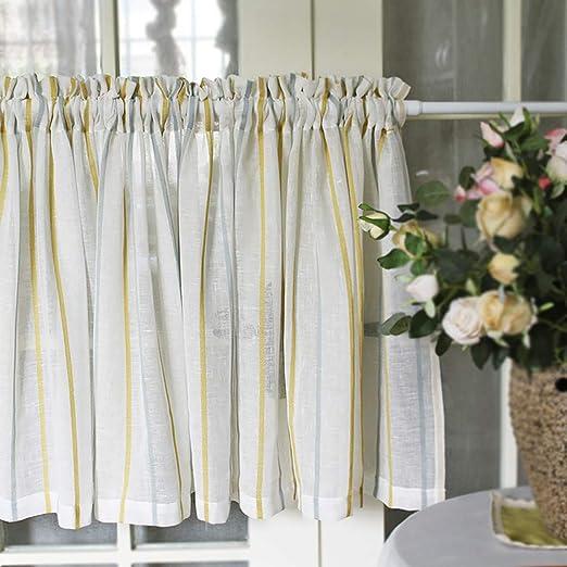 Visillos Cocina Cortina Cortinas Salon Modernas Cortina Corta Cocina Cortina De Cocina Puerta Algodón Natural Y Lino, Diseño Simple: Amazon.es: Hogar