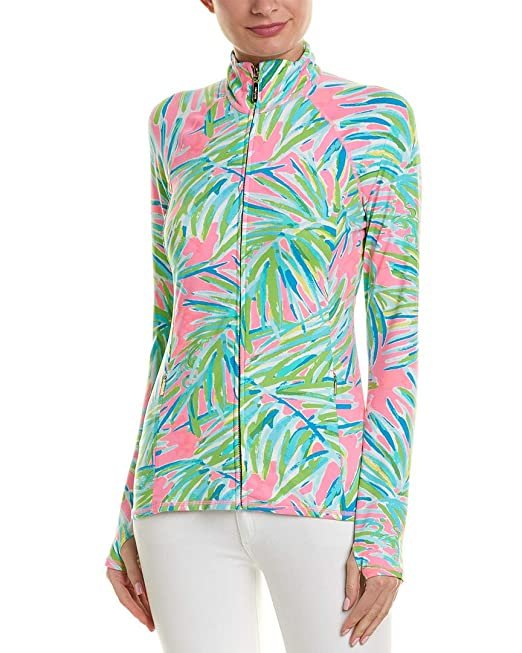 4a5899dd4584fb Lilly Pulitzer Women's Luxletic Serena Jacket Pink Sunset Royal Lime X-Large