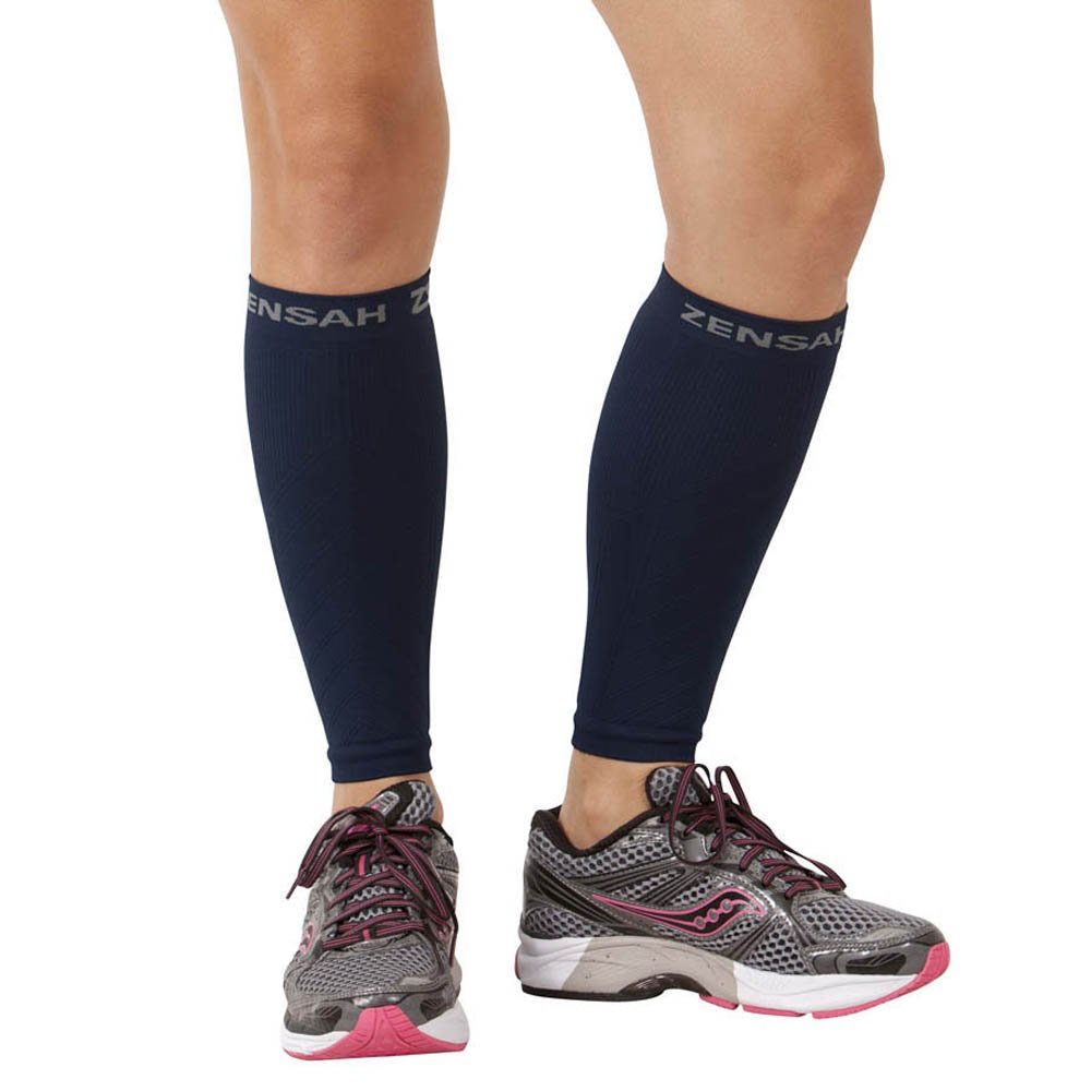 Zensah  Compression Leg Sleeves, Navy, X-Small/Small