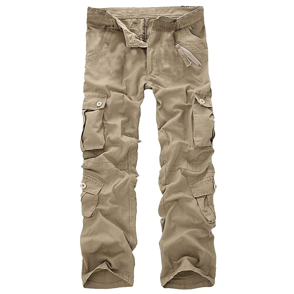 Men's Fashion Casual Cotton Multi-Pocket Outdoors Work Cargo Long Pants Hot Sale Trouser by Dacawin_ Men Pants