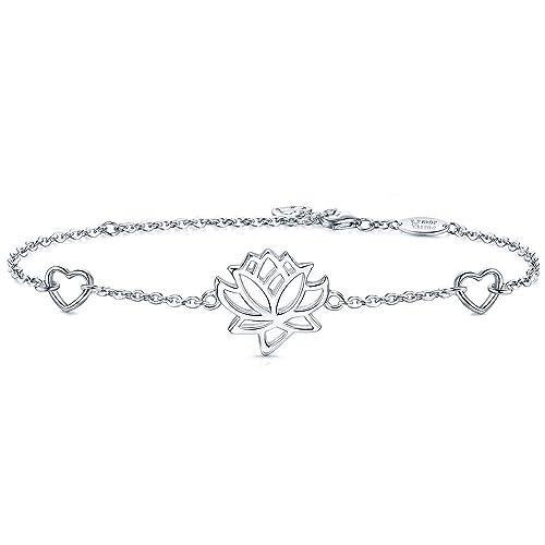 Amoraime Pulsera De Plata De Ley Con Diseño De Flor De Loto Y