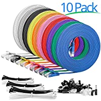 Cat6 Flat Ethernet Patch Cable - 1.5 Feet 18 Inch - 10 Pack - High Speed Internet Lan Cable with Snagless RJ45 Connectors For Fast Computer Networking + Cable Clips - Cable Ties - Multi Color