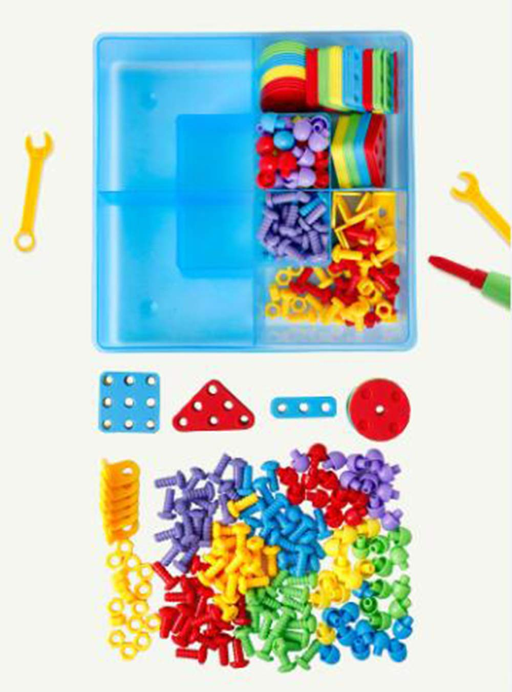 Sopu Kids Building Games Set Desigh & Drill Activity Center, Electric Drill Screwdriver Tool Set Educational 3D Building Blocks Construction Games Toys for Boys & Girls Age 3 - 15 Years Old