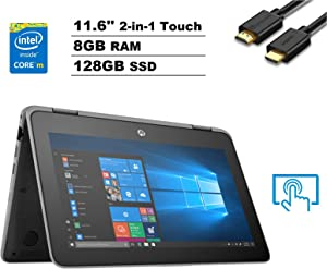 "HP ProBook X360 11 G4 EE 11.6"" HD Touch 2-in-1 Laptop (Intel Core m3-8100Y, 8GB RAM, 128GB M.2 SSD) Type-C, Webcam, Bluetooth, Long Battery Life, RJ-45, Windows 10 Home + IST Computers HDMI Cable"