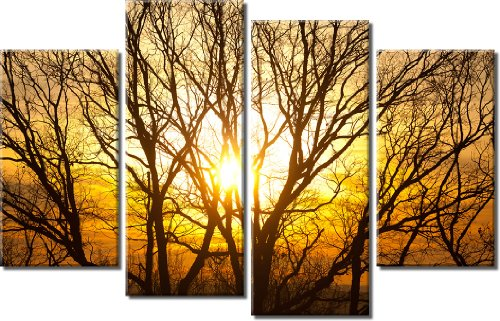 Picture Sensations Framed Huge 4-Panel Sunset Tree Silhouette Sun Tree Giclee Canvas Print