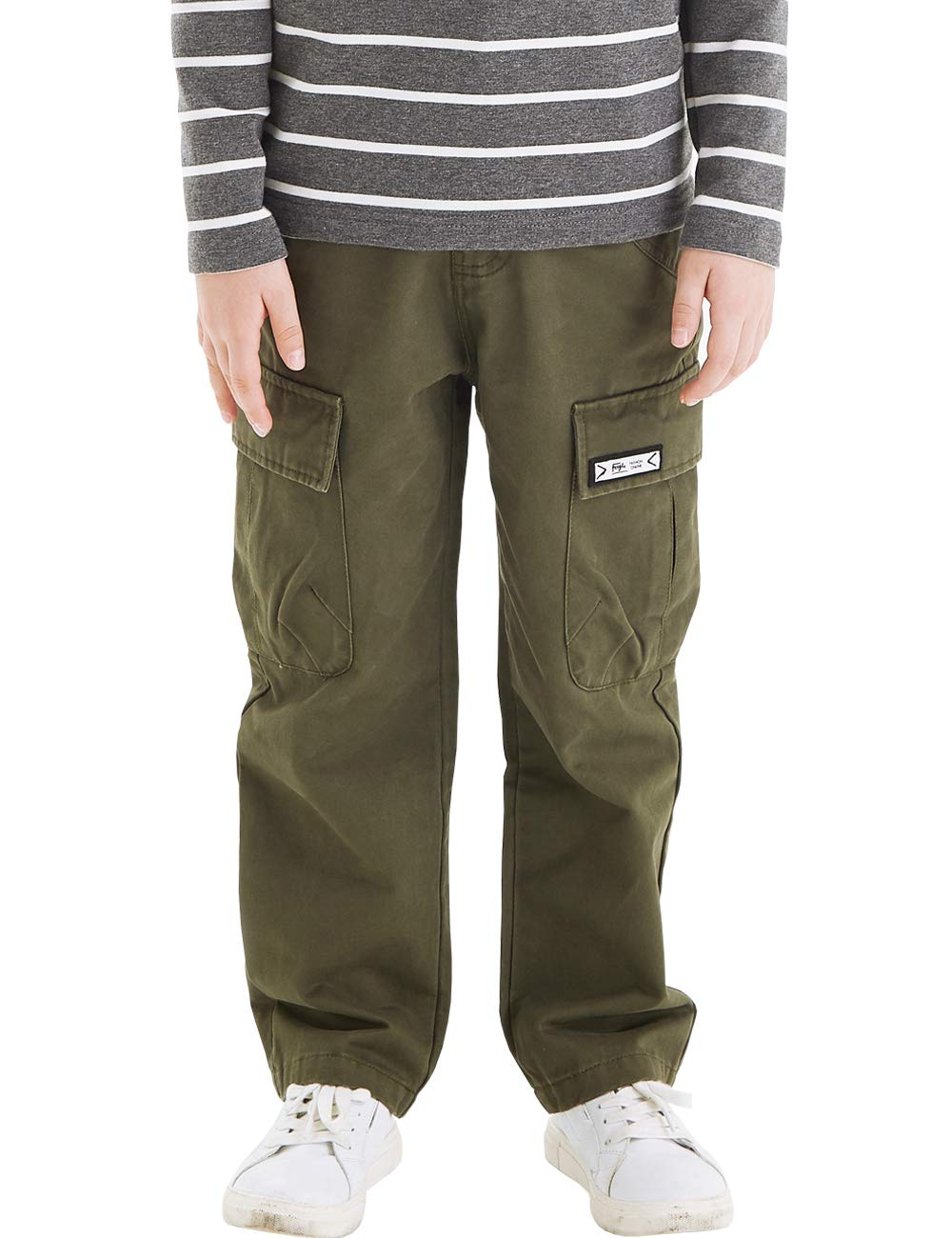 BYCR Boys' 100% Cotton Multi Pocket Chino Cargo Pants for Kids Size 5-18 (Army Green, 140 (US Size 8)) by BYCR