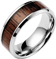 Ameesi Men's Women's Fashion Creative Wide Band Wood Titanium Steel Ring Size 6-12