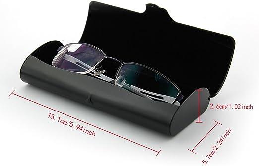EZESO Glasses Case Spectacle Case Box Aluminum Frosted Matte Eyeglass Case for Mini Frame Black Medium