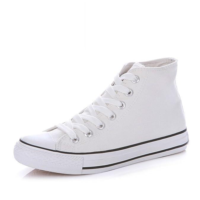 Lienzo Clásico Primavera,Los Amantes Del Zapato Sólidos Del Color Planos,Alta Zapatos Casuales,Cordón Finos Zapatos Del Estudiante-C Longitud del pie=22.3CM(8.8Inch)