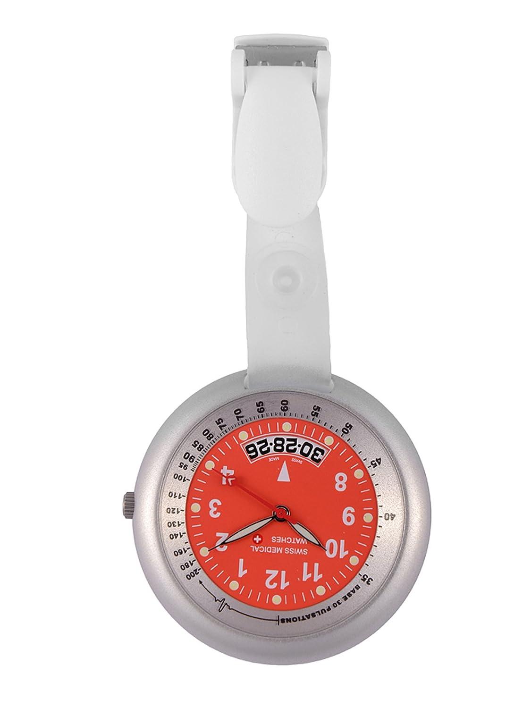 Taschenuhr Swiss Medical Professional Line silver-red + kostenlose Gravur.