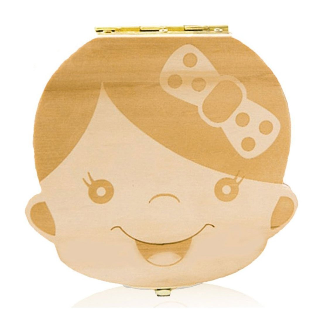 Baby Teeth Storage Box Cute Wooden Tooth Organizer Keepsake Boxes Handmade Souvenir Case for Kids (Girl's) JoinPro