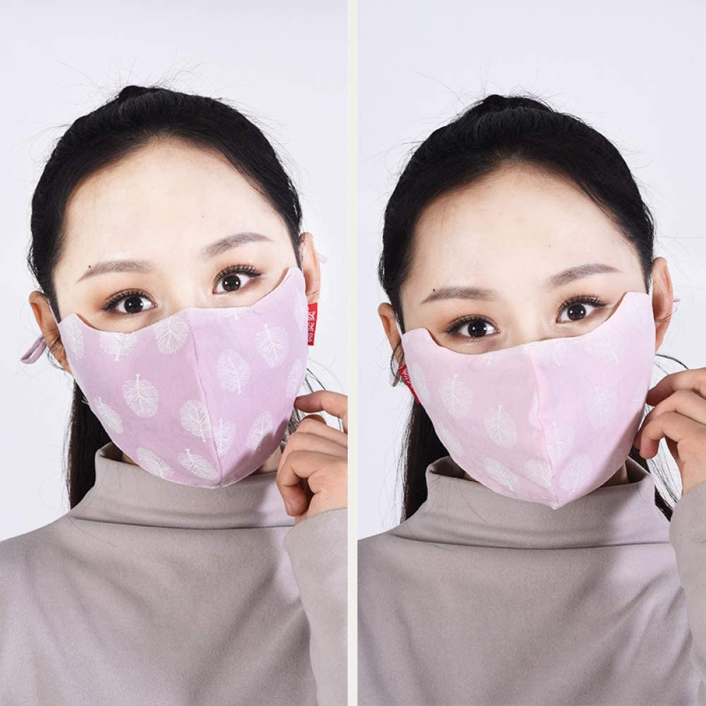 MDLJY Mascara 2Pcs Algodón de Verano para Mujer Tela de algodón Transpirable Ultrafina Máscara de Nariz y Boca Protección Solar Polvo La protección para los Ojos se Puede Lavar 3