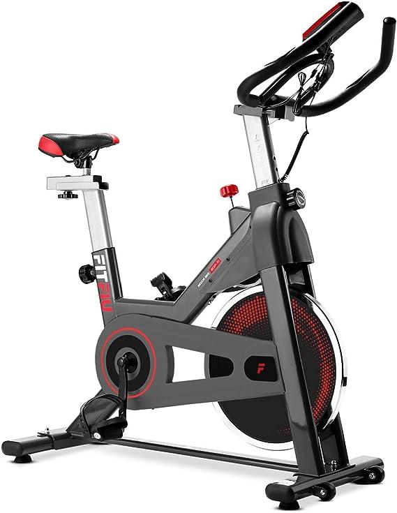 FITFIU BESP-70 - Bicicleta Estática Spinning con disco inercia 13kg, pantalla LCD y Pulsómetro, Bici Entrenamineto Fitness indoor con sillín ajustable: Amazon.es: Hogar