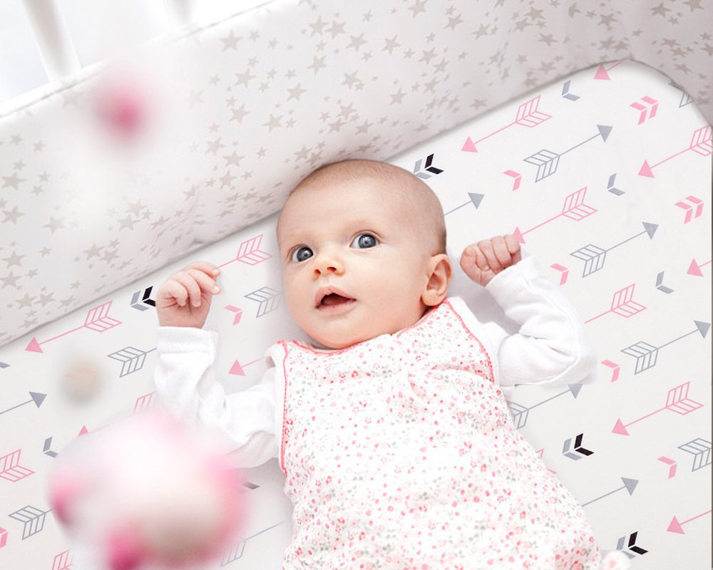 Stretchy Fitted Pack n Play Playard Sheet Set-Brolex 2 Pack Portable Mini Crib Sheets,Convertible Playard Mattress Cover,Ultra Soft Material,Pink & White Arrow Design by BROLEX (Image #7)
