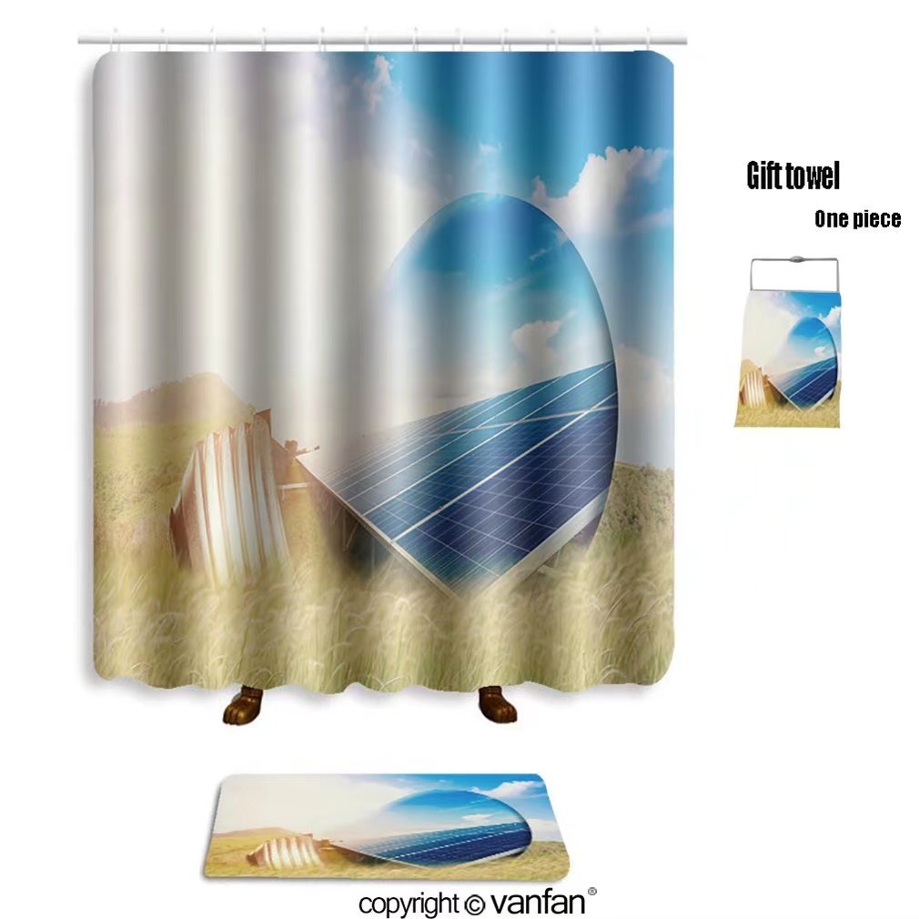 vanfan bath sets Polyester rugs shower curtain light bulb solar panels 533448427 shower curtains sets bathroom 72 x 88 inches&31.5 x 19.7 inches(Free 1 towel 12 hooks)