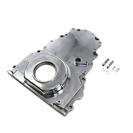 Assault Racing Products A6008POL GM LS Polished 2 Piece Aluminum Timing  Chain Cover Kit with Cam Sensor