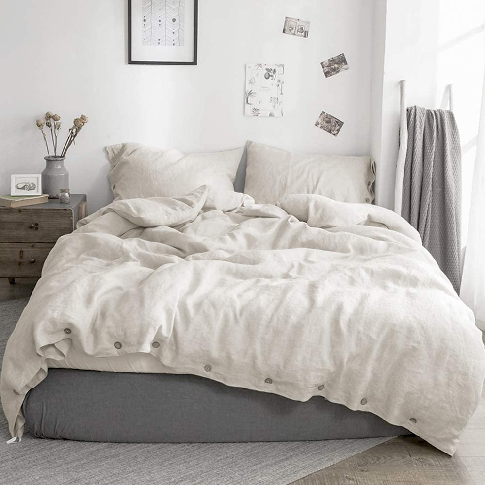 Simple&Opulence 100% Washed Linen Duvet Cover Set-3 Pieces Soft Flax Bedding Set(1 Duvet Cover+ 2 Pillowcases)-Farmhouse Comforter Set with Coconut Button Closure (Queen, Natural Linen)