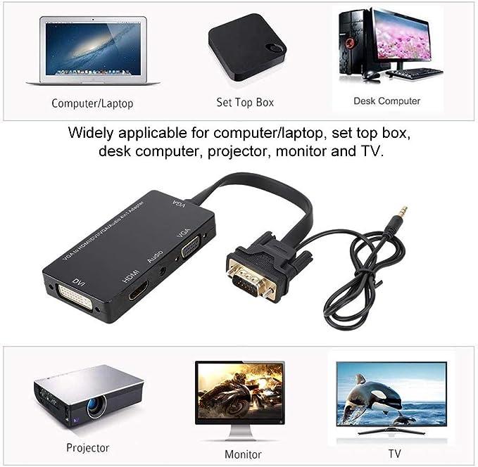Plug and Play 4 en 1 Puerto de Pantalla a HDMI DVI VGA Adaptador Convertidor Admite transmisión de Pantalla síncrona de Video Full HD 1080p para computadora de Escritorio portátil, Monitor: Amazon.es: