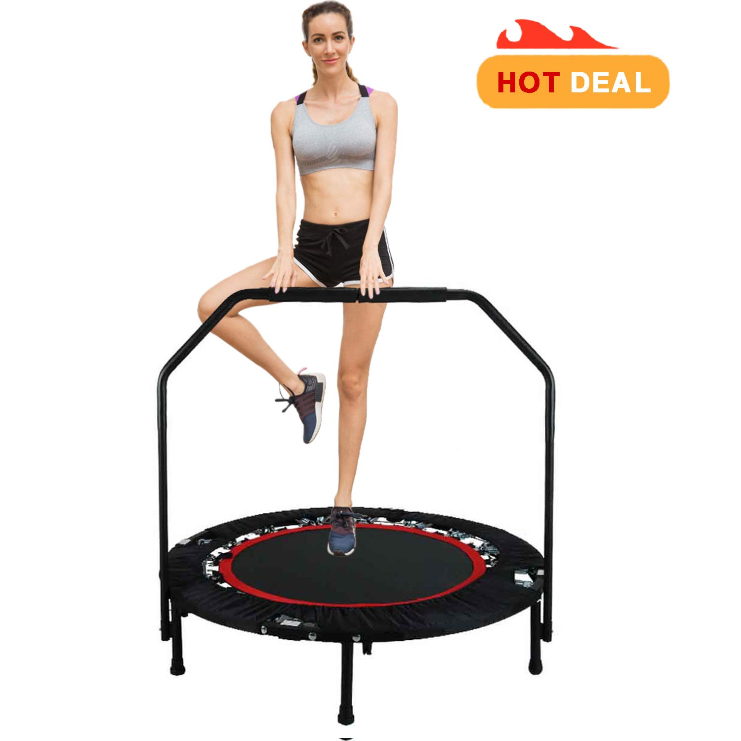 40'' Fitness Exercise Trampoline Foldable with Adjustable Handrail Rebounder Trampoline Indoor Mini Trampoline for Adults or Kids Max. Load 300 lbs Stretch Jump Mat (Red2)