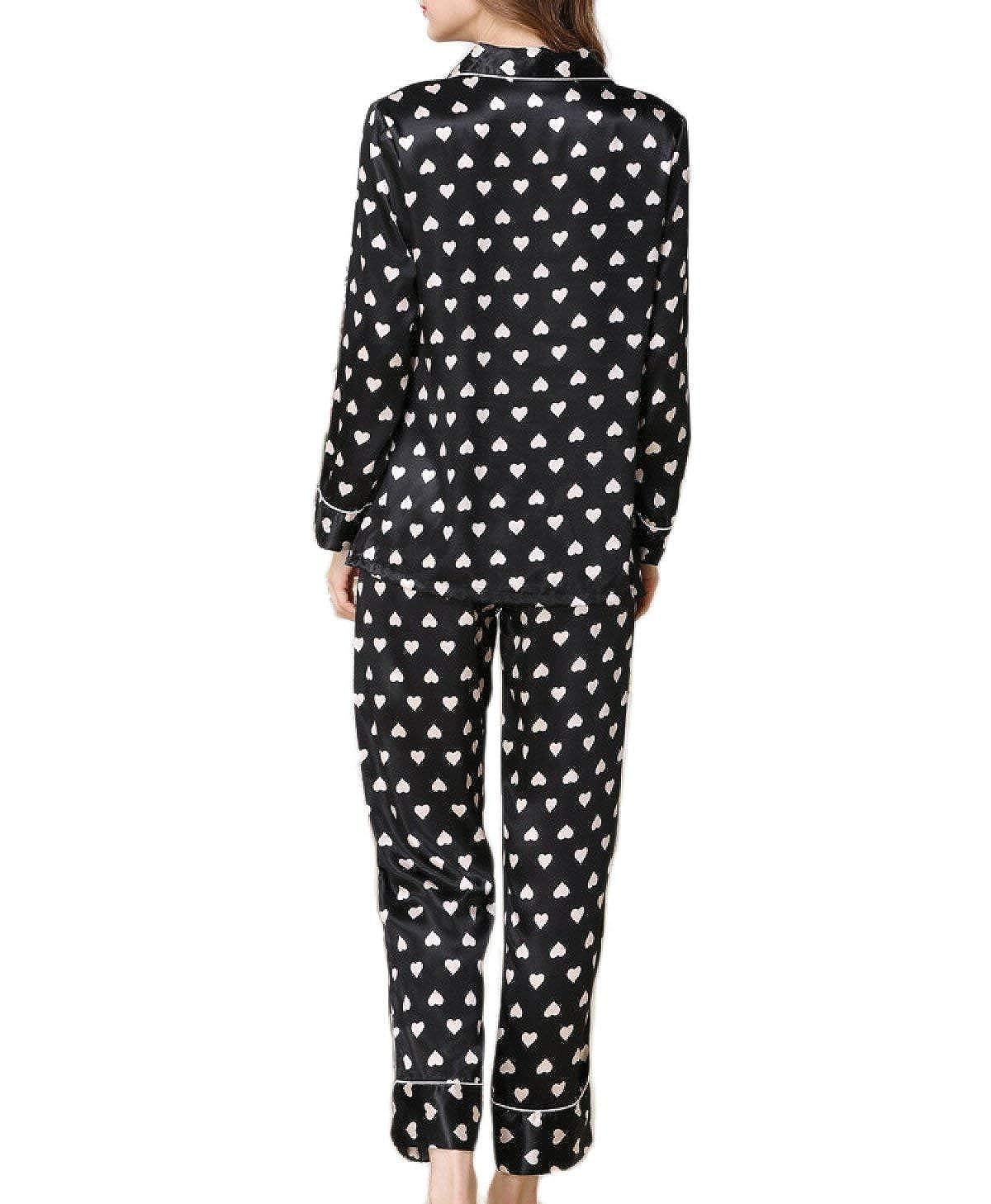 Mujer Ropa De Noche Elegante Chic Manga Larga Estampadas V-Cuello Button Conjunto De Pijama Primavera Vintage Otoño Satín Batas Fashion Ropa De Dormir ...