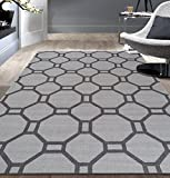 Cheap Contemporary Geometric Non-Slip (Non-Skid) Area Rug 5 X 7 (5′ 3″ X 7′ 3″) Gray