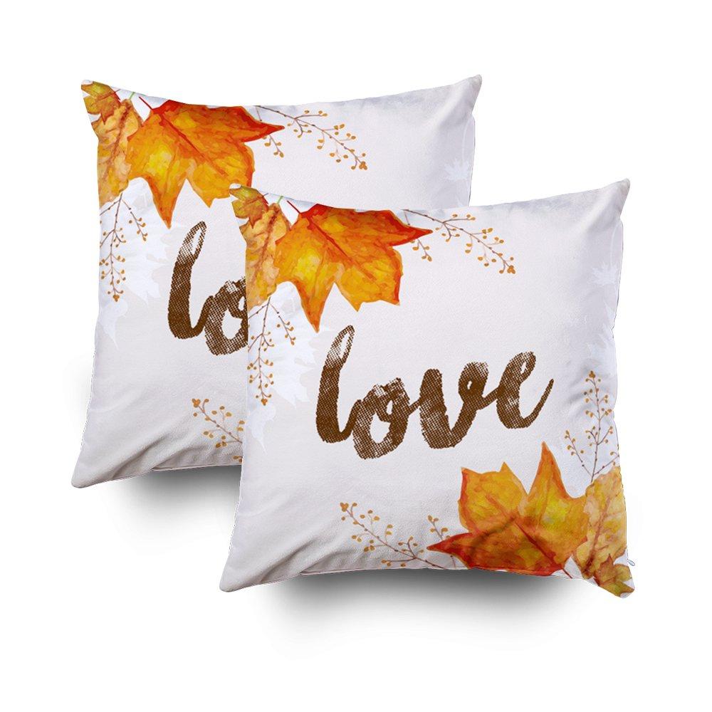 emmteeyホーム装飾スロー枕ソファクッションのカバー、Love Autumn Fall Leavesアクセント装飾正方形アクセントファスナー付き両面印刷枕ケースカバー16 x 16インチ,のセット2 18x18 グリーン 18x18 マルチ1 B07FY8B6Q3