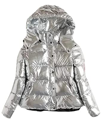 Fulok Womens Classic Padded Hoodie Pocket Metallic Short Parka Jacket  Silver S 0922aece2d