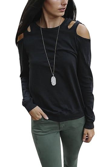 Vepodrau Camiseta Mujer Manga Larga Blusas Holgadas Hombro Frio: Amazon.es: Ropa y accesorios