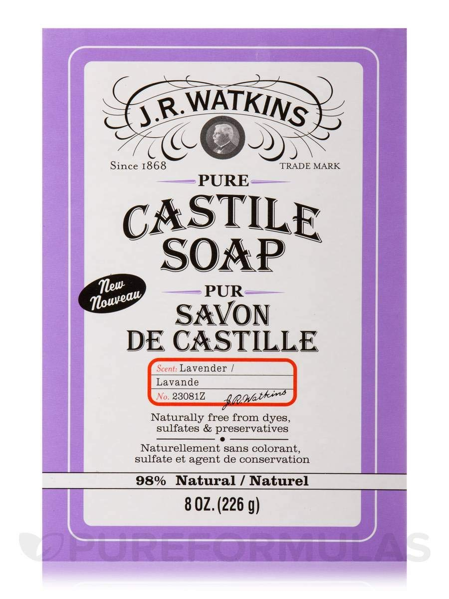 JR Watkins Natural Hand and Body Bar Soap, Moisturizing Bath and Shower Soap for Women and Men, USA Made and Cruelty Free, 8oz, Lavender Pure Castile