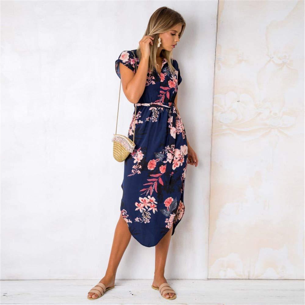 LitBud Womens Dresses Summer V-Neck Short Sleeve Casual Office Geometric Belted Midi Fashion Dress Navy Blue