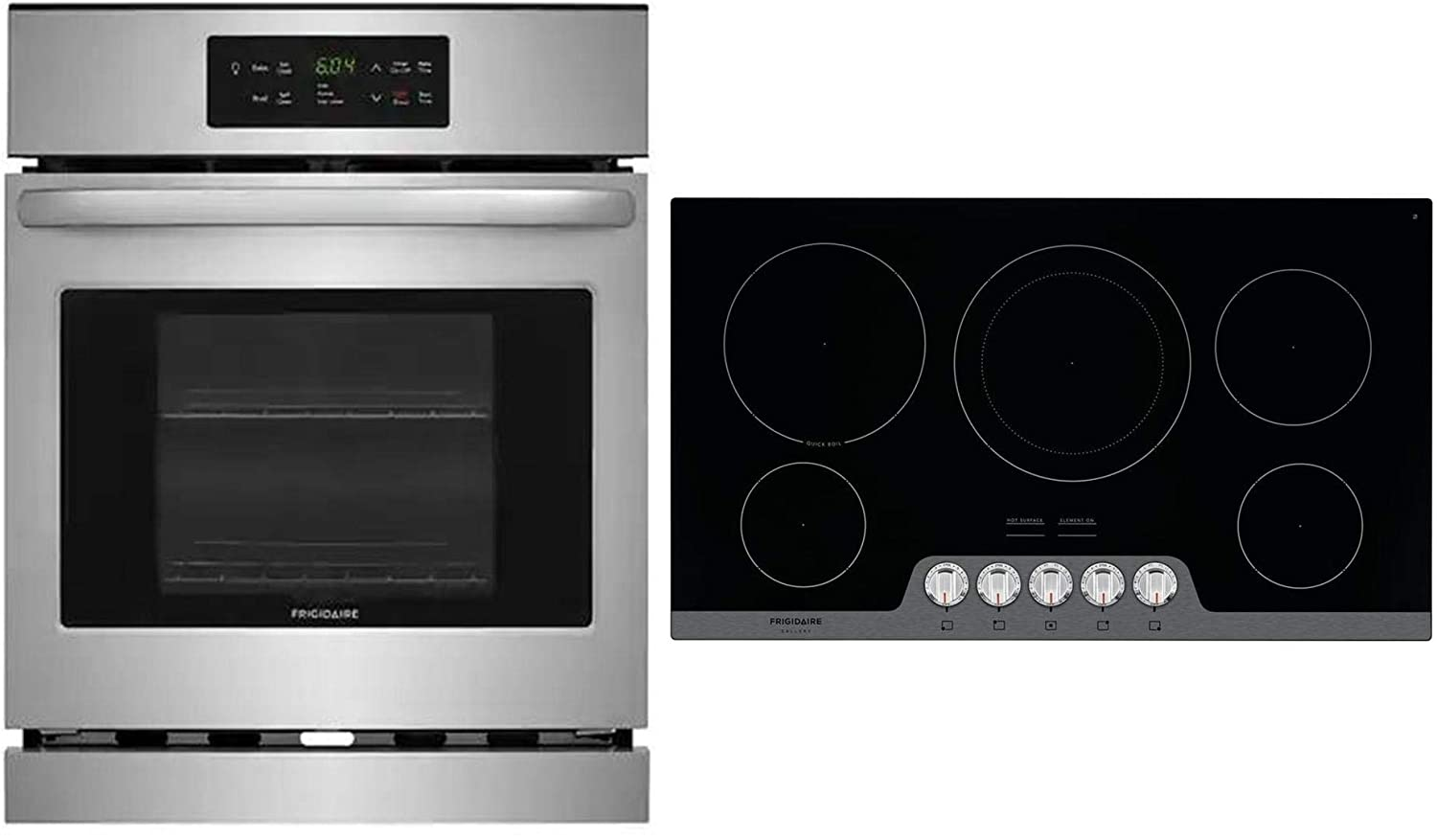 "Frigidaire 2 Piece Kitchen Appliances Package with FFEW2426US 24"" Electric Single Wall Oven and FGEC3648US 36"" Electric Cooktop in Stainless Steel"