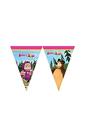 Procos 86563 - Guirnalda de banderines de Masha y el Oso, 2,3 m, multicolor