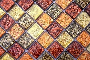 Mosaikfliese Transluzent Glasmosaik Crystal gold orange Struktur MOS120-07414