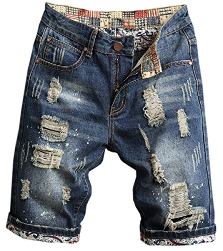 Distressed Denim Jeans Pants - Men's Ripped Shorts, Destroyed Distressed Ripped Denim Short Pants Jeans Shorts for Men, 3# Dark Blue, US 32 = Tag 33
