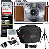 Canon PowerShot G9 X Mark II Digital Camera 20.1 MP Sensor & Wi-Fi Silver + Sandisk 32GB + Ritz Gear Case + Card Reader + Polaroid 8 Tripod + Cleaning Kit + Memory Card Wallet + Bundle