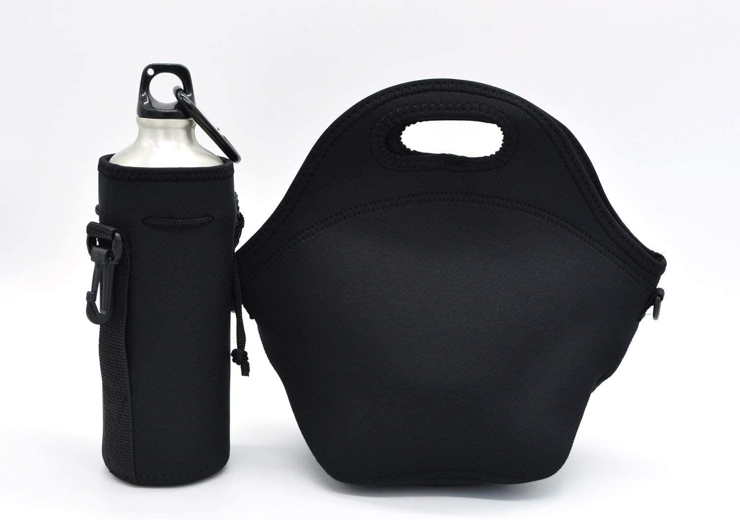 Neoprene Lunch Tote,Picnic Bag Food Insulated Waterproof Lunch Bags For Men, Women, Adults, Kids, Girls. Reusable, Washable, Water-proof Foldable, Light, Zipper With Strong shoulder strap (BLACK)