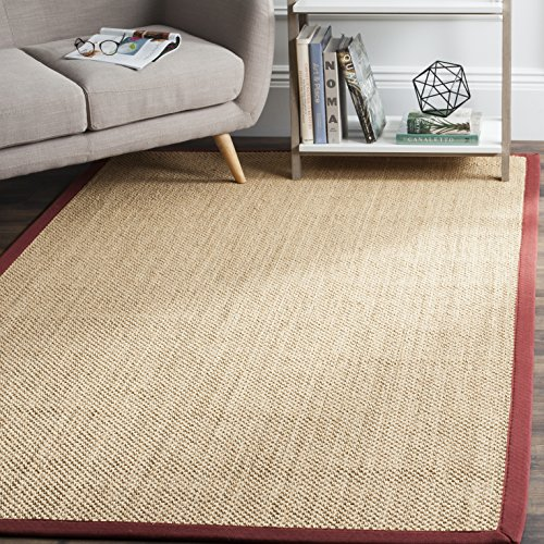 Safavieh Natural Fiber Collection NF141D Tiger Paw Weave Maize and Burgundy Sisal Area Rug (8' x 10')