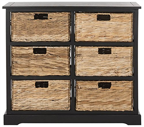 (Safavieh American Homes Collection Keenan Distressed Black 6 Wicker Basket Storage Chest)