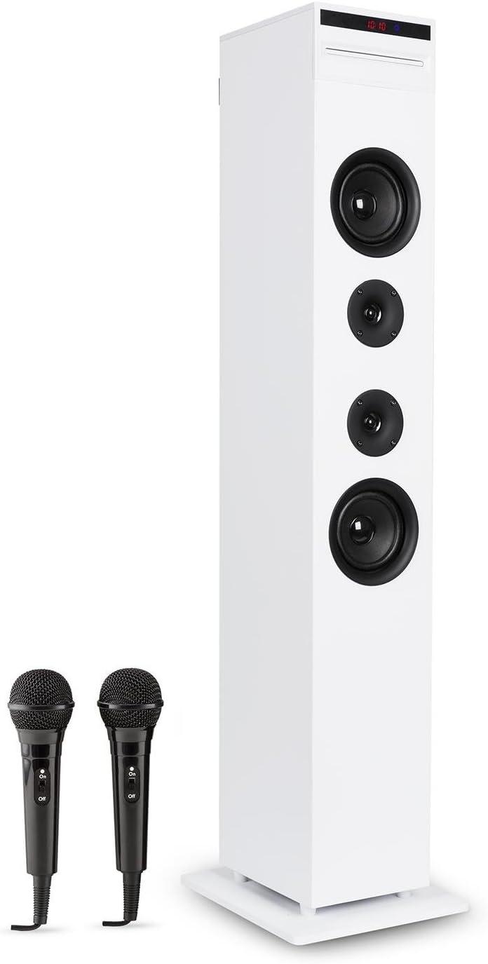auna Karaboom - Equipo de Karaoke , Torre de Altavoces , Reproductor de CD Incorporado , Bass Reflex , Bluetooth , 2 Micrófonos , USB , MP3 , Entrada AUX , Ranura SD , Potencia 65W , Estable , Blanco