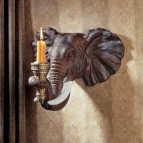 Design Toscano Elephant African Decor Candle Holder Wall Sconce Sculpture, 12 Inch, Polyresin, Full -