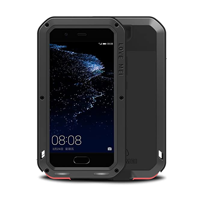 premium selection e7d5d fd377 Huawei P10 Case,Feitenn Extreme Hybrid Armor Alloy Aluminum Metal Bumper  Soft Rubber Military Heavy Duty Shockproof Hard Case For Huawei P10 (Black)