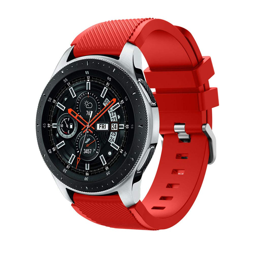 Polwer Replacement Bands Compatible for Samsung Galaxy Watch 46mm, Fashion Soft Silicone Watch Band Smartwatch Strap Wristband Accessories for Women and Men (Red)
