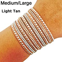 "Fitness Tracker Bracelet for Fitbit Flex and Other Fitness Trackers - The TINLEY Rhinestone Studded Snap Bracelet - Size M/L (6.5""- 7"") (Light Tan, Fitbit Flex)"