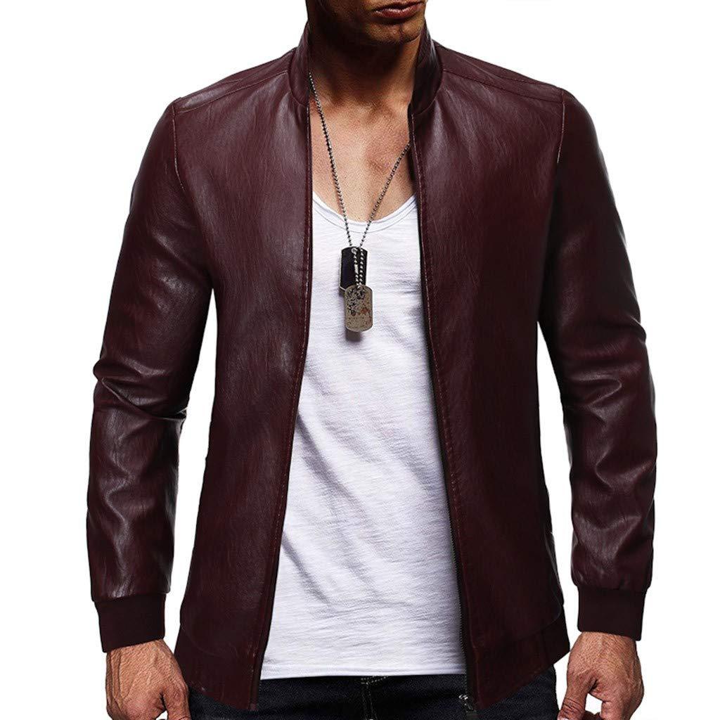 Amazon.com: Kstare - Chaqueta de piel de cordero para hombre ...