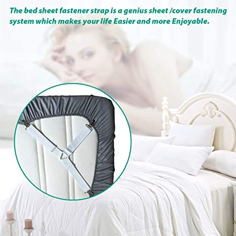 sheets wont move from mattress keep them straight and secure with out white straps Decor Hut Set of 2 matress sheet fasterns Adjustable Lenght Strong Fasteners.