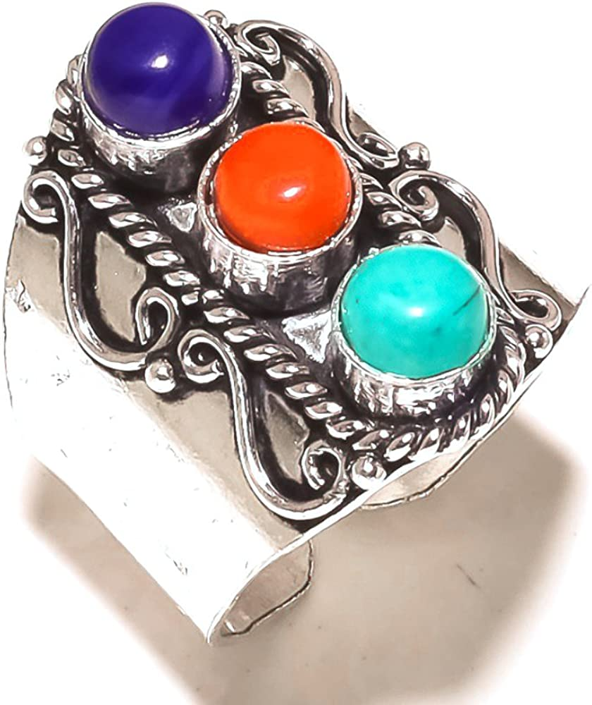 Ethnic Sizable Blue Turquoise Coral Sterling Silver Overlay 11 Grams Ring Size 11.5 US Handmade Jewelry